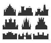 Castles silhouettes set