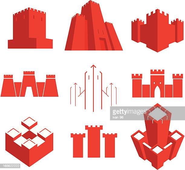 ilustraciones, imágenes clip art, dibujos animados e iconos de stock de los castillos - castillo estructura de edificio
