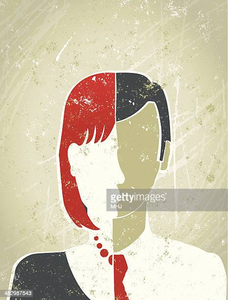 casual businessperson with face that is half male and female - human gender stock illustrations
