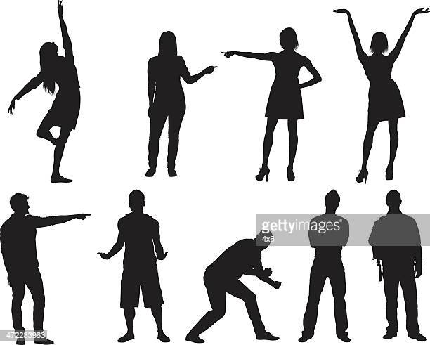 Casual male and female silhouettes