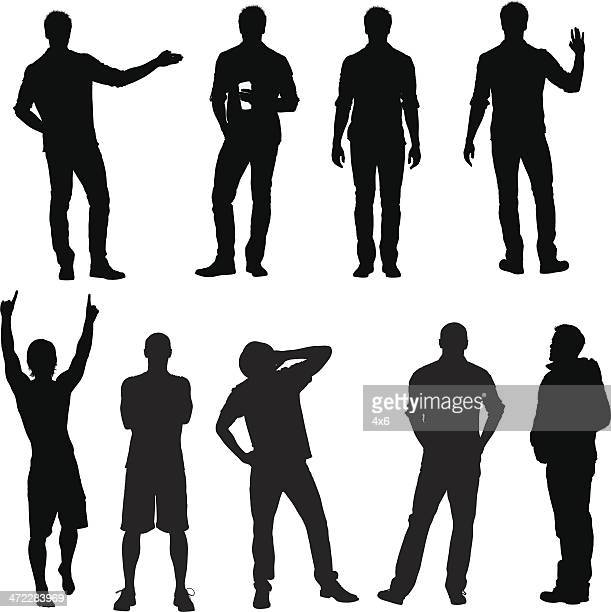 Casual male vector silhouettes