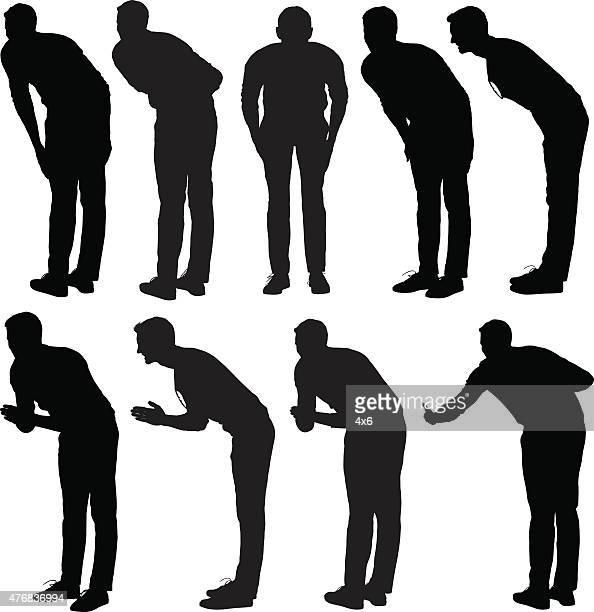 bildbanksillustrationer, clip art samt tecknat material och ikoner med casual man bowing - prayer pose greeting