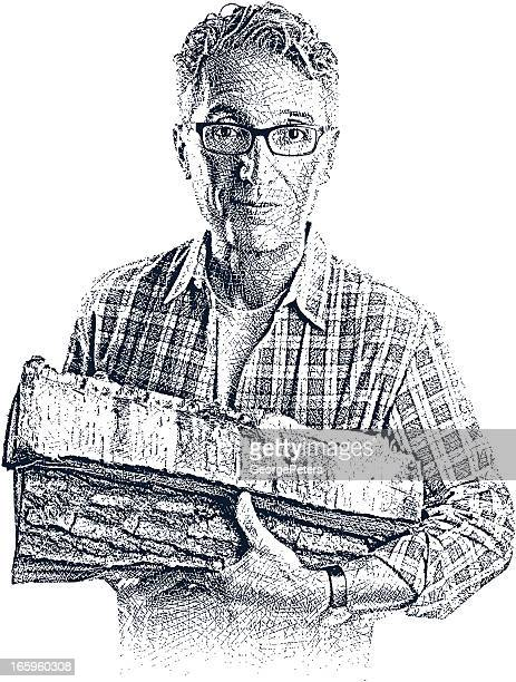 casual man carrying firewood - scratchboard stock illustrations