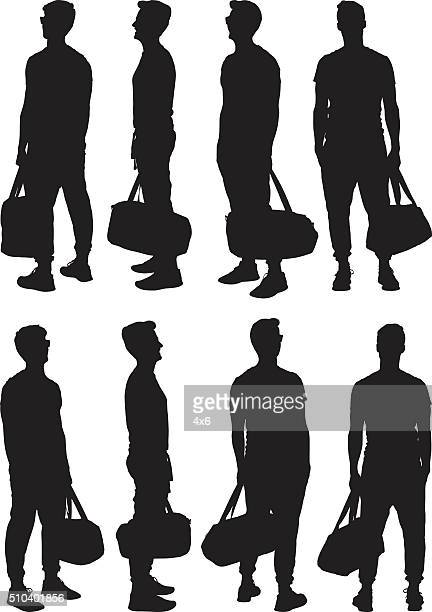 Casual man holding gym bag and in different views