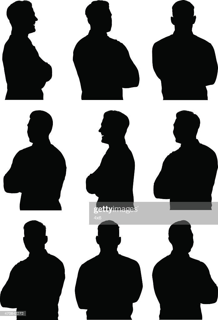 腕を組むしているカジュアルな男性 : ストックイラストレーション