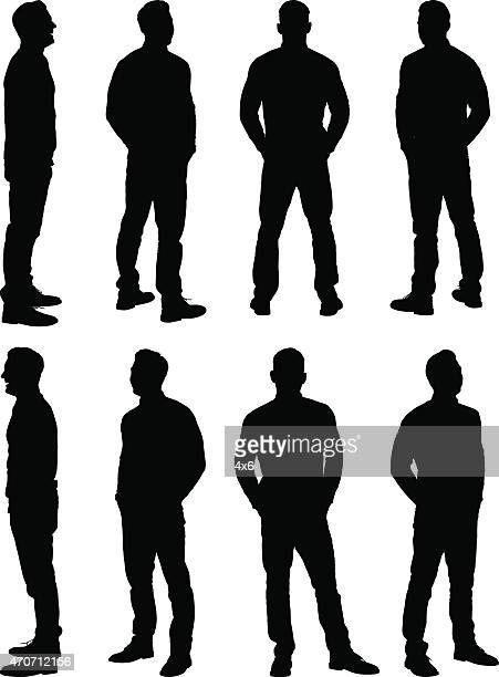 casual man standing - plain background stock illustrations