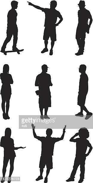 Casual men and women standing poses