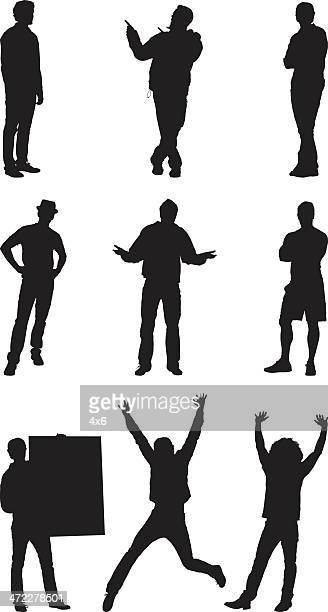 casual men silhouettes - shrugging stock illustrations, clip art, cartoons, & icons