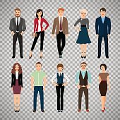 Casual office people on transparent background