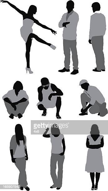 casual people in different poses - crouching stock illustrations, clip art, cartoons, & icons