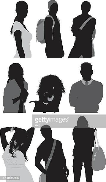 casual people in various actions - cardigan sweater stock illustrations, clip art, cartoons, & icons
