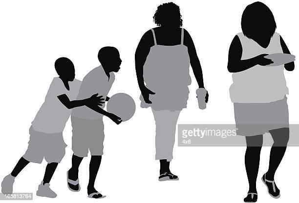 ilustraciones, imágenes clip art, dibujos animados e iconos de stock de informal personas en la calle - obesidad infantil