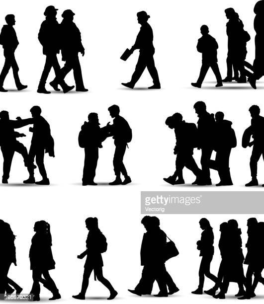 casual people silhouette - adult stock illustrations, clip art, cartoons, & icons