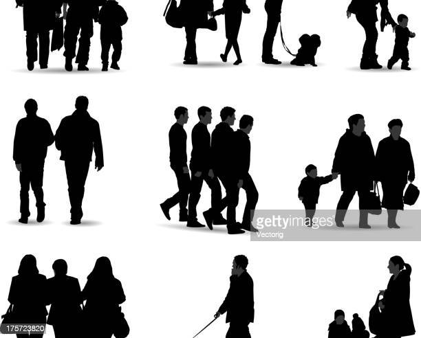 casual people silhouette - school child stock illustrations, clip art, cartoons, & icons
