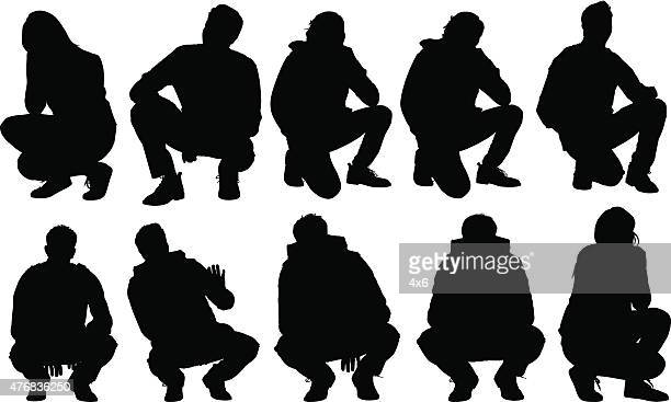 casual people squatting - crouching stock illustrations, clip art, cartoons, & icons