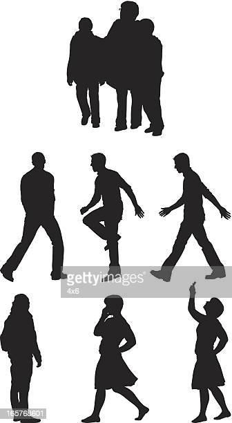 Casual people walking around