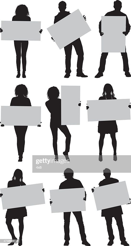 Casual people with placard