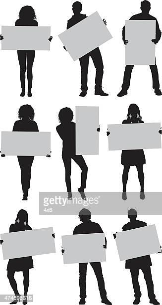 casual people with placard - holding stock illustrations, clip art, cartoons, & icons