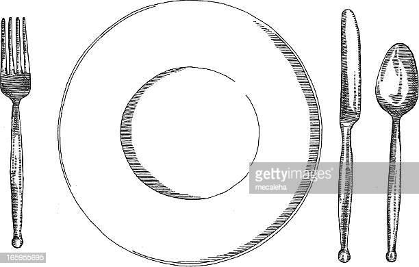 ilustrações de stock, clip art, desenhos animados e ícones de casual definição de tabela - talheres