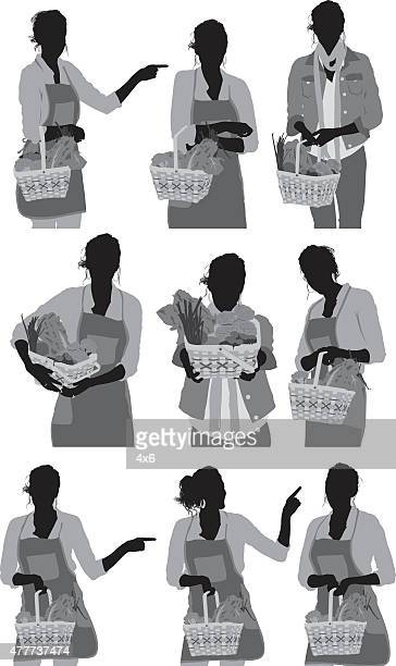 casual woman with basket - updo stock illustrations, clip art, cartoons, & icons