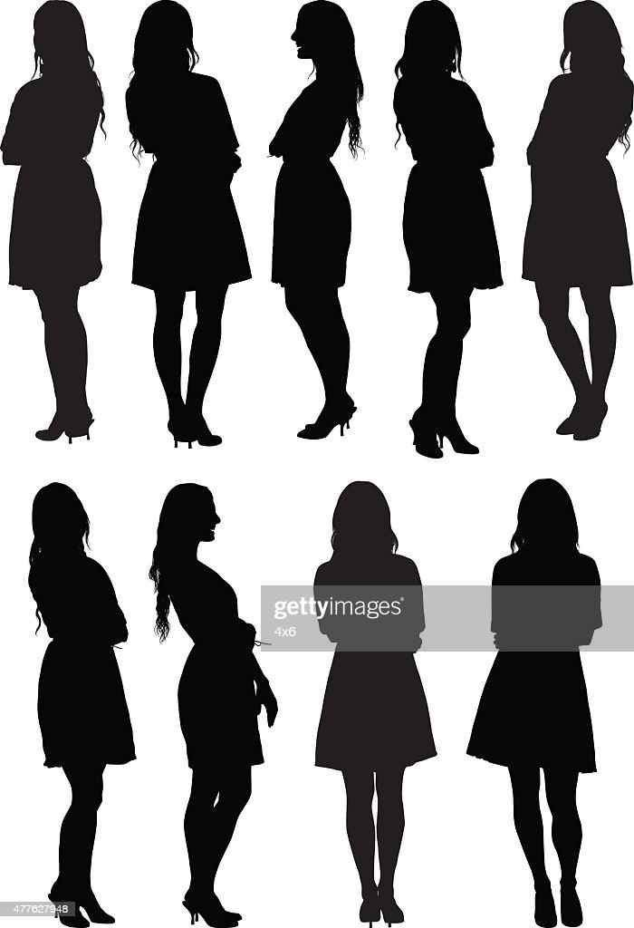 Casual women standing : stock illustration
