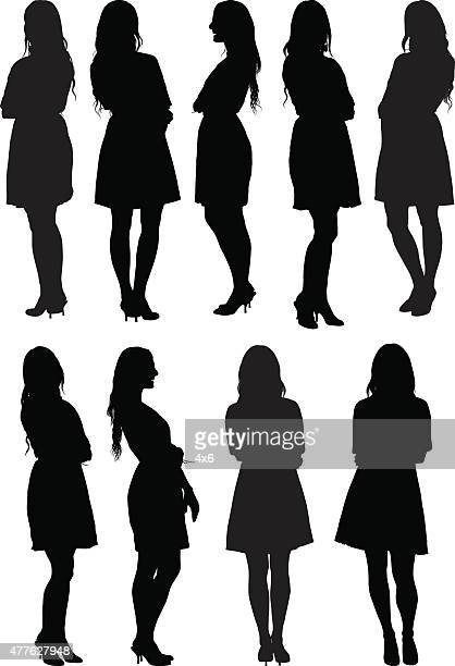 casual women standing - women stock illustrations