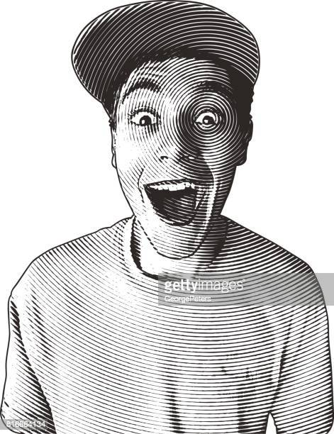 casual young man with a funny surprised facial expression - pen and ink stock illustrations
