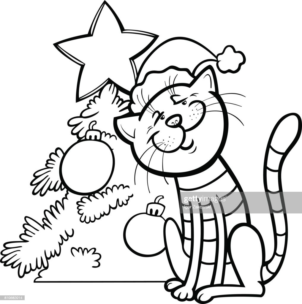 cat and christmas tree coloring book vector art