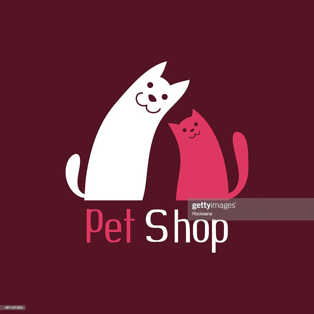 Cat and dog are best friends, sign for pet shop