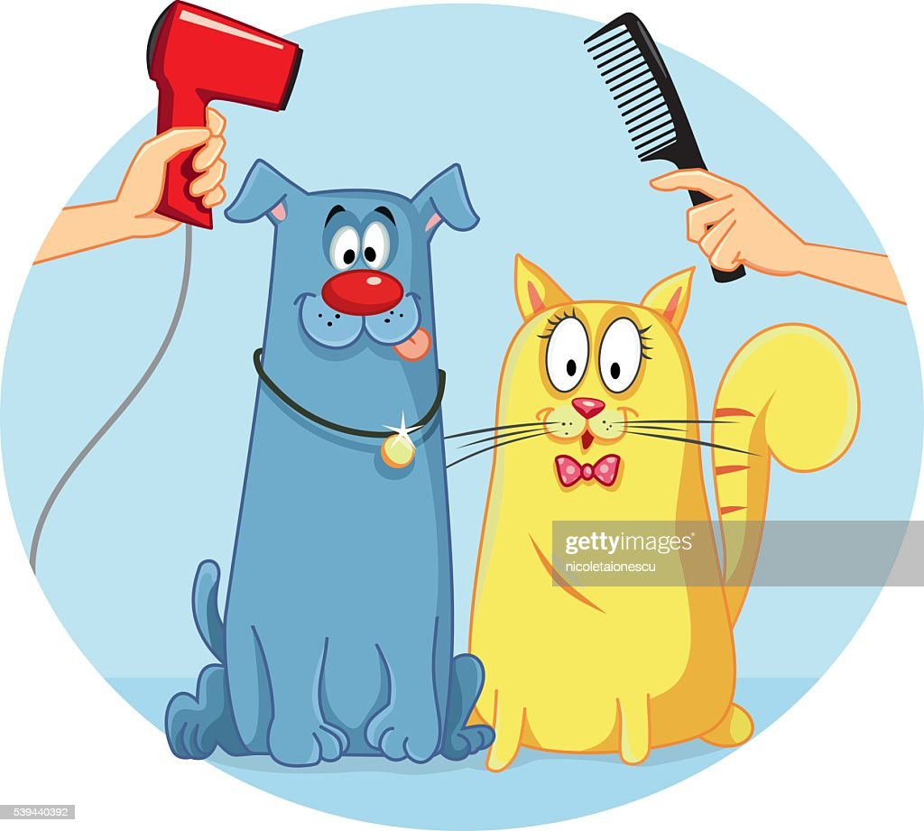 Cat and Dog at Pet Salon Vector Cartoon