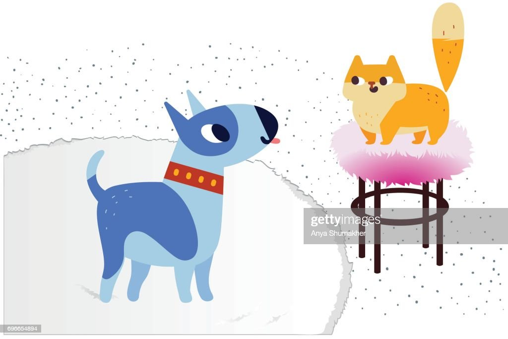 Cat and Dog characters. Bullterrier and ginger color cat. Vector flat cartoon illustration. Isolated on white background.