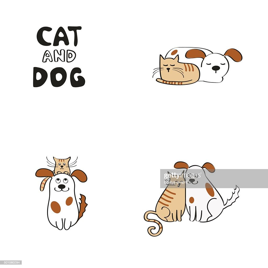Cat and dog design elements