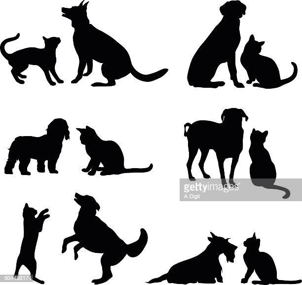 cat and dog friends - dog stock illustrations