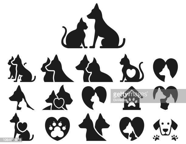 cat and dog icon set - animal themes stock illustrations