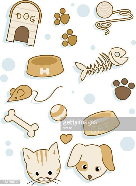 cat and dog items - dog toys stock illustrations