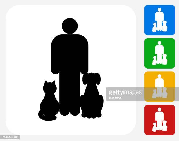 Cat and Dog Next to Owner Icon Flat Graphic Design