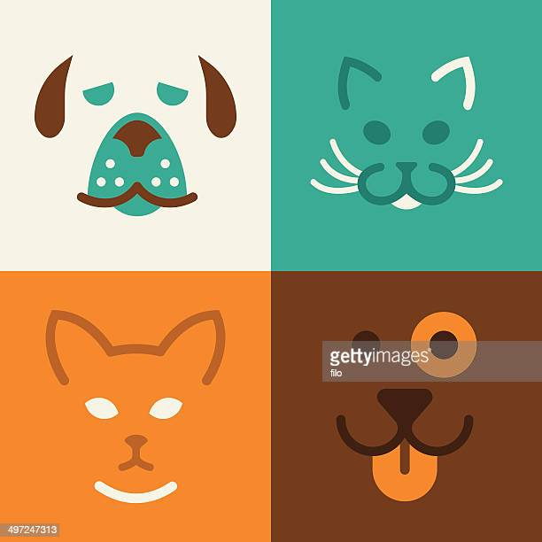 cat and dog pet symbols - dog stock illustrations
