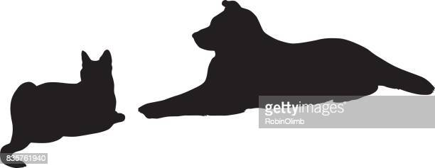 Cat And Dog Resting Together Silhouette