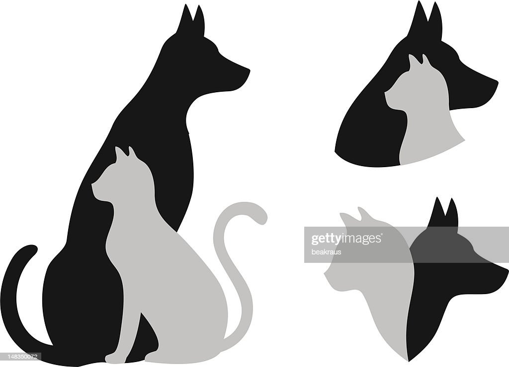 cat and dog, vector