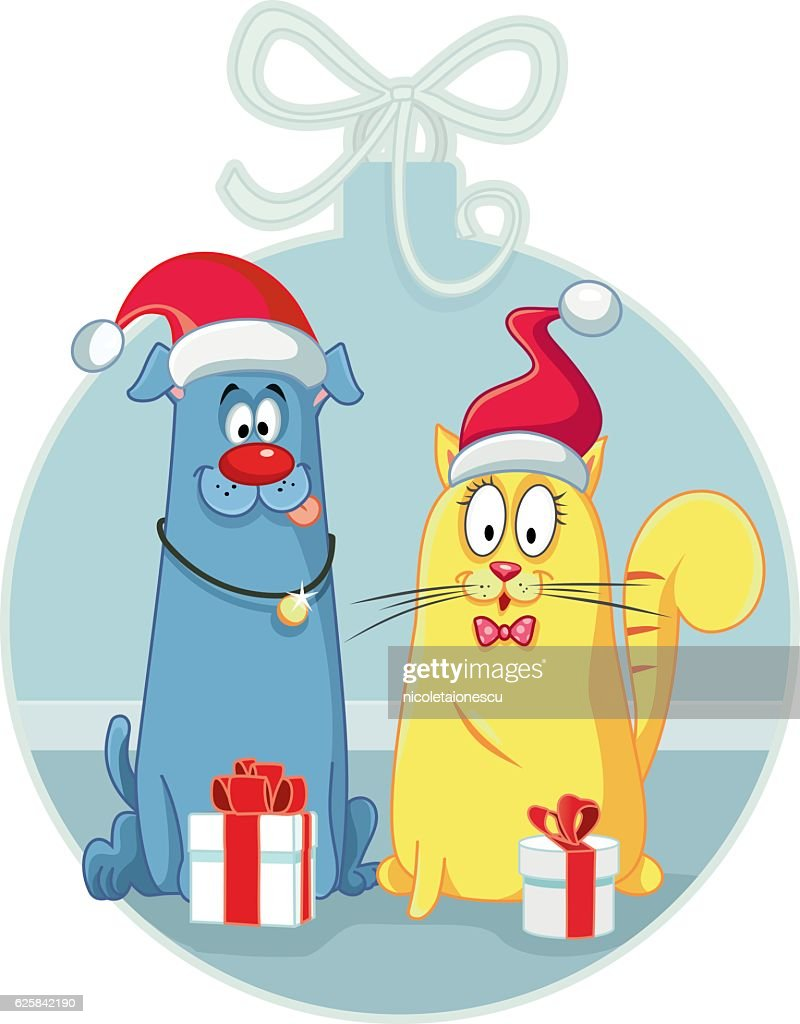 Cat and Dog with Christmas Gifts Vector Cartoon