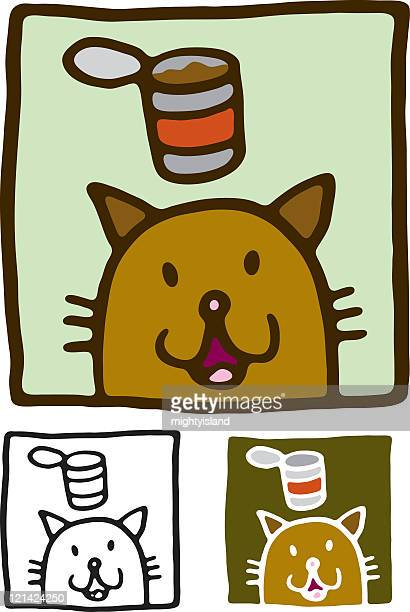 cat and food - cat food stock illustrations