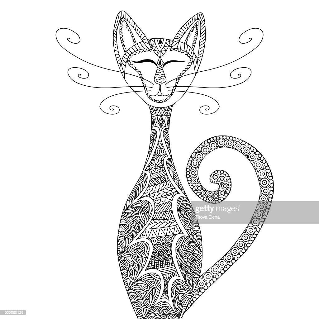 Cat Antistress Coloring For Adults Stock-Illustration ...
