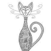 Cat Anti-stress coloring for adults