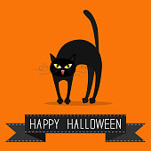Cat arch back. Yellow eyes, fangs, curl moustaches whisker. Black ribbon. Happy Halloween greeting card. Funny cartoon character. Isolated. Orange background. Flat design.