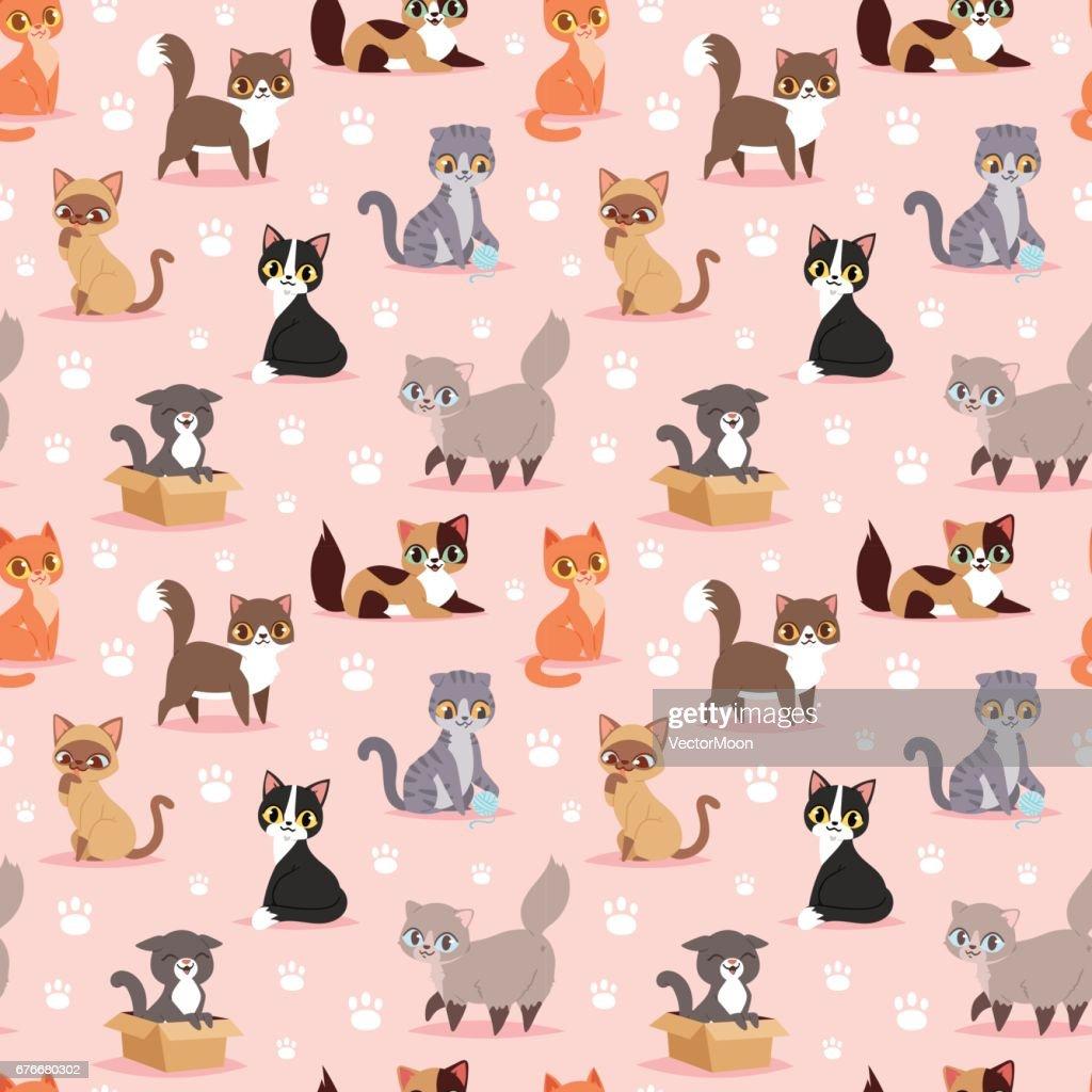 Cat breed cute kitten pet portrait fluffy young adorable cartoon animal vector illustration seamless pattern