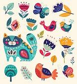 Cat, butterflies, birds and flowers
