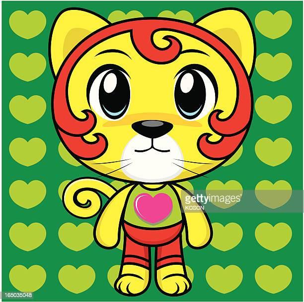 cat cartoon - animal heart stock illustrations, clip art, cartoons, & icons