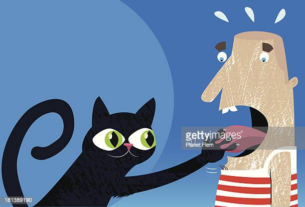 cat caught your tongue! - sticking out tongue stock illustrations, clip art, cartoons, & icons