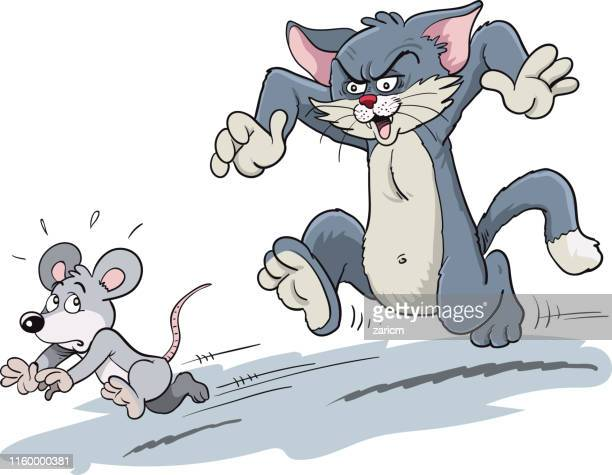 cat chasing a mouse. - cute mouse stock illustrations