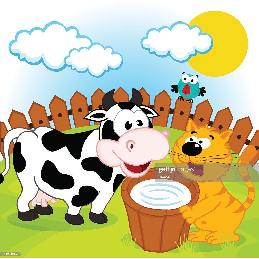 cat, cow and milk